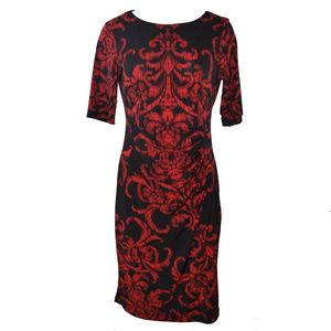 Connected Apparel Scroll Print Sheath Dress 10 New
